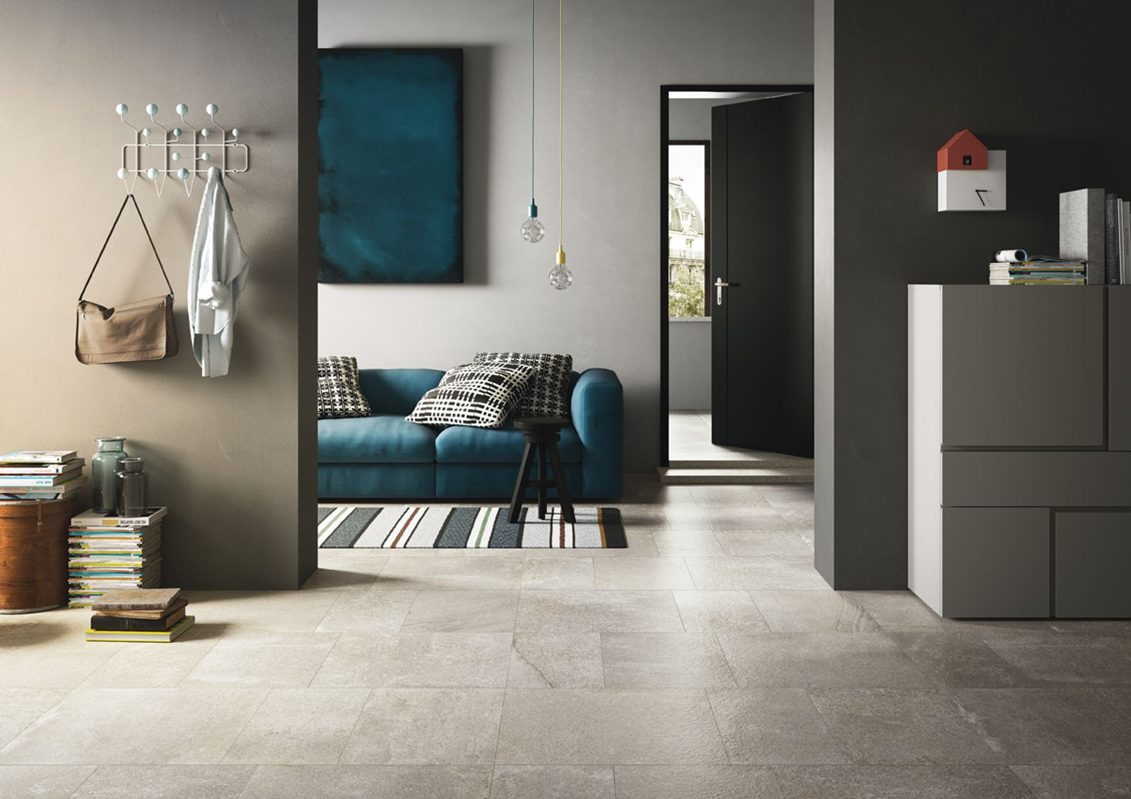 A new material inspired by the sedimentary dolomitic rock from the Limestone family, found in the Appalachian Mountains in North America. A stone with a rugged appeal that combines quartzite and porphyry and recalls the same subtle shades that  appear in nature, from grey to brown to black.  - AM BRIXSTONE 2 - Imola Ceramica