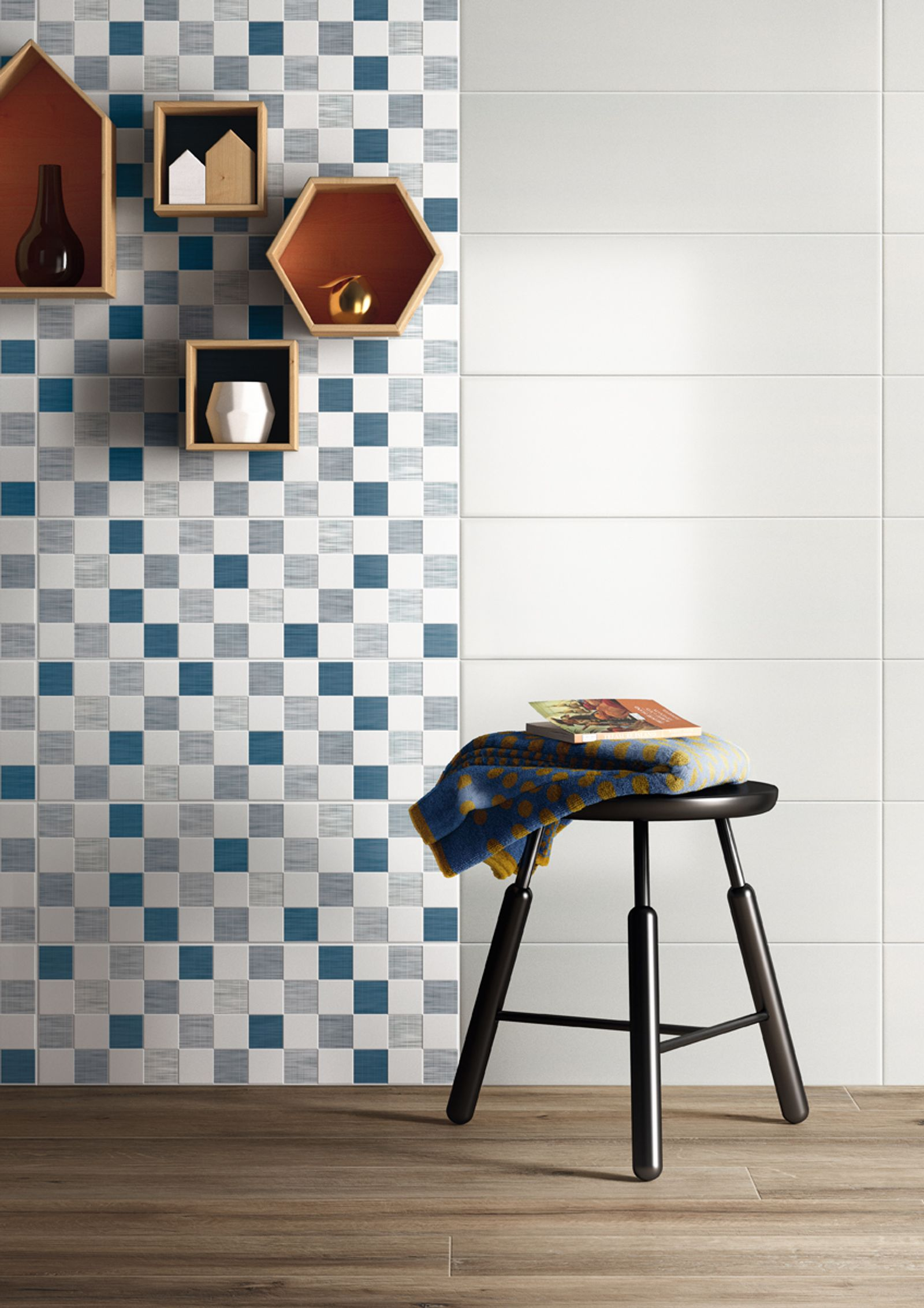Play! Play and combine the tiles any way you want! For bright and original wall tiling! Play is Imola's new double fired tile collection, made in size 20x60 cm, with a satin finish surface and extremely soft surface appearance that is the essence of the collection. The effect is a solid colour that feels good.Play makes you want to get creative. The truly neutral white can be combined with six backgrounds, in current, modern shades (green, lavender, mauve, dark blue, dove-grey, yellow) and a wide range of decorations (polka dots, geometric elements, lines) for a home that is relaxed and bursting with colour.  - AM PLAY 2 - Imola Ceramica