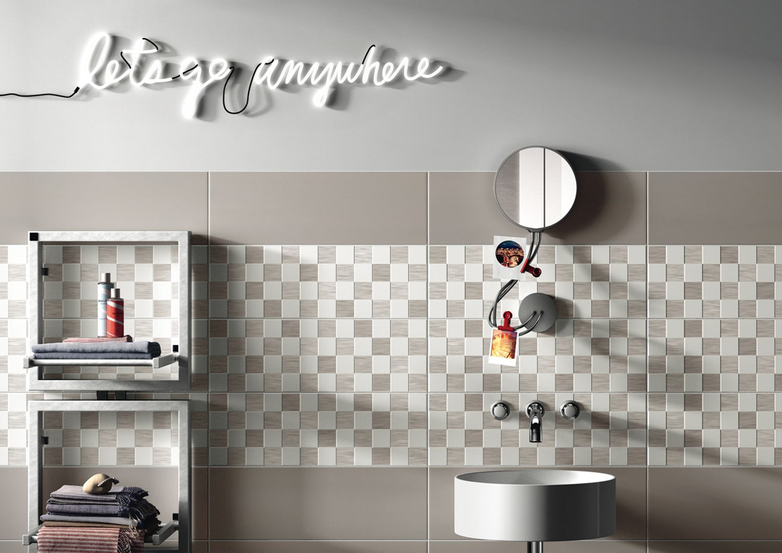Play! Play and combine the tiles any way you want! For bright and original wall tiling! Play is Imola's new double fired tile collection, made in size 20x60 cm, with a satin finish surface and extremely soft surface appearance that is the essence of the collection. The effect is a solid colour that feels good.Play makes you want to get creative. The truly neutral white can be combined with six backgrounds, in current, modern shades (green, lavender, mauve, dark blue, dove-grey, yellow) and a wide range of decorations (polka dots, geometric elements, lines) for a home that is relaxed and bursting with colour.  - AM PLAY 7 - Imola Ceramica