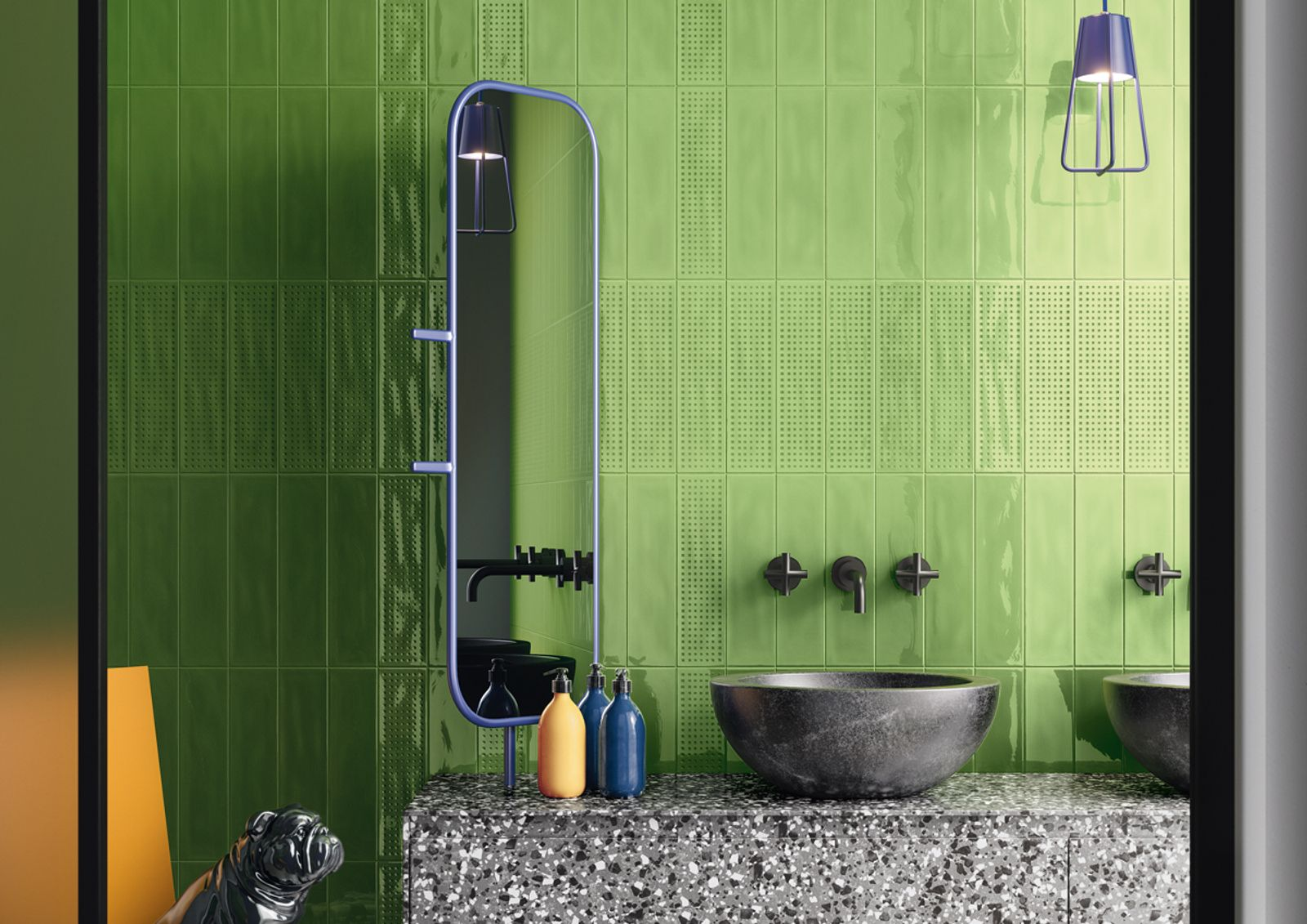 Slash is a double-fired tile generated by a careful study of enamels and a special 'color care' research system that divides modern colours into 'sparkling' and 'still'.There are four 'Sparkling' variants (yellow, apple green, turquoise and red) for a bright and lively style; four neutral and delicate 'Still' shades (greige, ecru, sugar paper and sage); plus a ninth colour, white, that brings the two spirits of the collection together perfectly. - AM SLASH 2 - Imola Ceramica