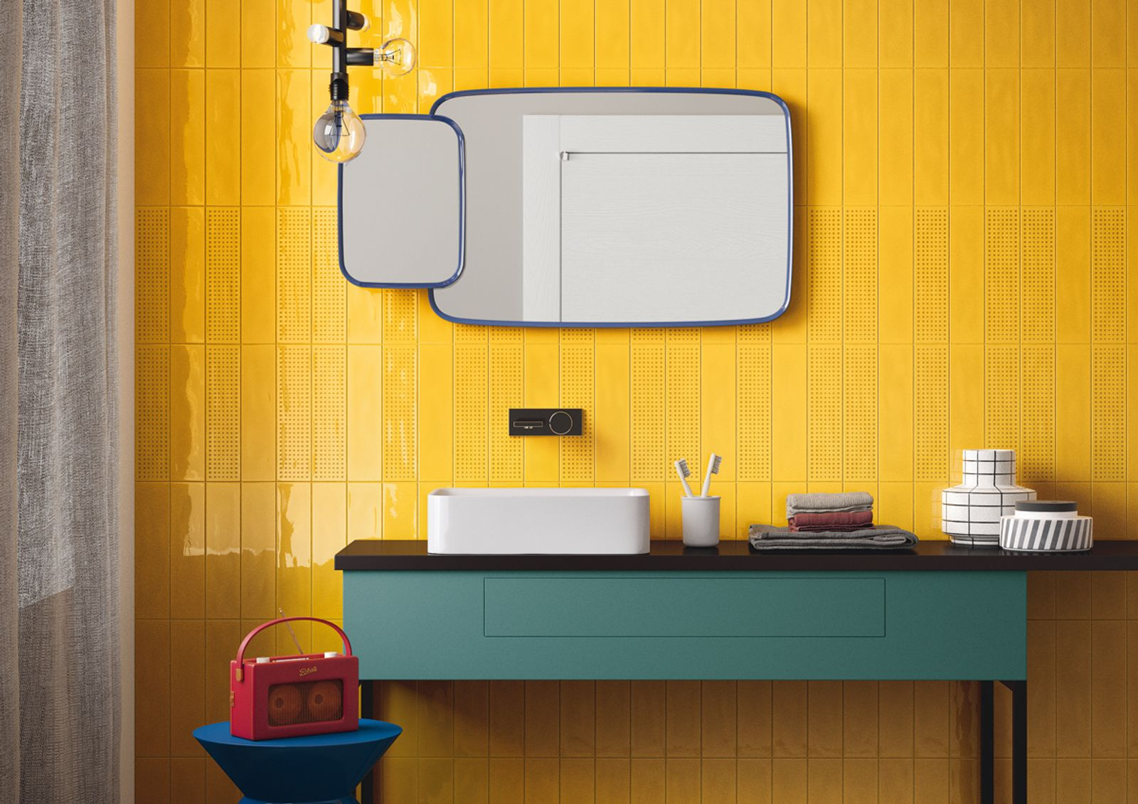 Slash is a double-fired tile generated by a careful study of enamels and a special 'color care' research system that divides modern colours into 'sparkling' and 'still'.There are four 'Sparkling' variants (yellow, apple green, turquoise and red) for a bright and lively style; four neutral and delicate 'Still' shades (greige, ecru, sugar paper and sage); plus a ninth colour, white, that brings the two spirits of the collection together perfectly. - AM SLASH 3 - Imola Ceramica